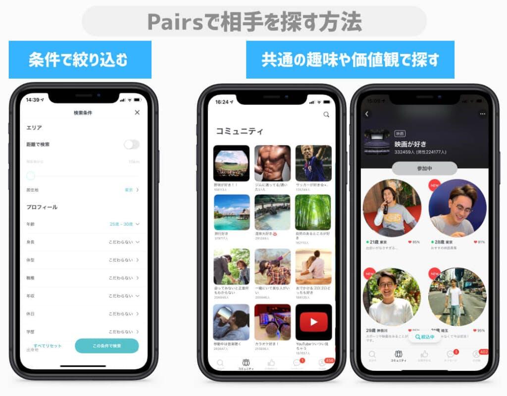 pairsペアーズ 検索方法(男性)